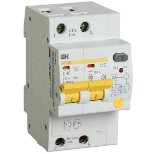 Дифференциальный автоматический выключатель селективный АД12MS 2P C40 100мА тип А 4500кА ИЭК (автомат)