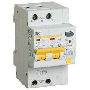 Дифференциальный автоматический выключатель селективный АД12MS 2P C20 300мА тип А 4500кА ИЭК (автомат)