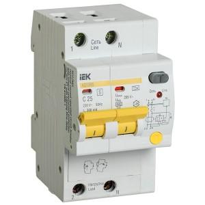 Дифференциальный автоматический выключатель селективный АД12MS 2P C25 300мА тип А 4500кА ИЭК (автомат)