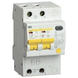 Дифференциальный автоматический выключатель селективный АД12S 2P C20 100мА тип АС 4500кА ИЭК (автомат)