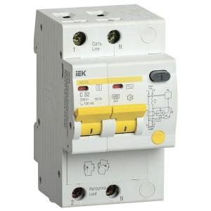 Дифференциальный автоматический выключатель селективный АД12S 2P C32 100мА тип АС 4500кА ИЭК (автомат)