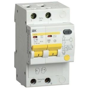 Дифференциальный автоматический выключатель селективный АД12S 2P C40 100мА тип АС 4500кА ИЭК (автомат)
