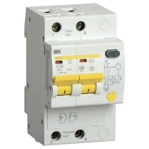 Дифференциальный автоматический выключатель селективный АД12S 2P C25 300мА тип АС 4500кА ИЭК (автомат)