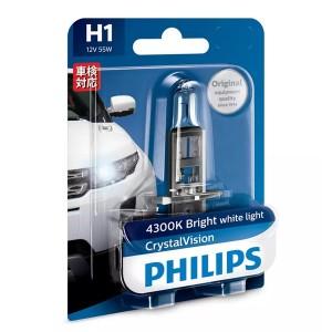 Лампа 12258CVB1 H1 12V 55W (P14,5s) (белый яркий свет) (блистер 1шт). Crystal Vision PHILIPS