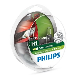 Лампа 12258LLECOS2 H1 12V 55W P14,5s (увелич. срок службы) LongLife EcoVision (уп. 2шт) PHILIPS