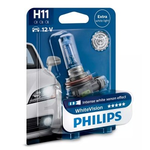 Лампа 12362WHVB1 H11 12V 55W PGJ19-2 (абсолютно белый свет) (блистер 1шт.) White Vision PHILIPS