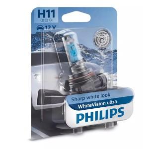 Лампа 12362WVUB1 H11 12V 55W PGJ19-2 (абсолютно белый свет+60% вид.) WhiteVision ultra PHILIPS