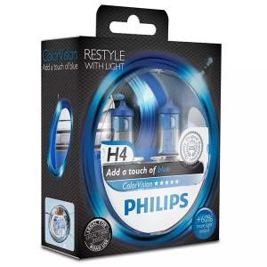 Лампа 12342CVPBS2 H4 12V 60/55W P43t (белый свет-отен.голуб. в фар.нелинз.) (уп. 2шт) Color Vision
