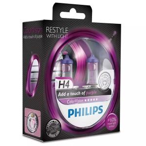 Лампа 12342CVPPS2 H4 12V 60/55W P43t (белый свет-отен.розов. в фар.нелинз.) (уп. 2шт) Color Vision