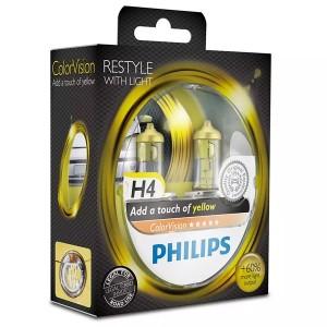 Лампа 12342CVPYS2 H4 12V 60/55W P43t (белый свет-отен.желт. в фар.нелинз.) (уп. 2шт) Color Vision