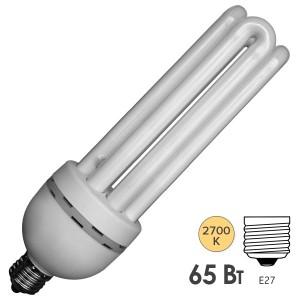 Лампа энергосберегающая ESL 4U14 65W 2700K E27 3300lm d72x235mm теплая