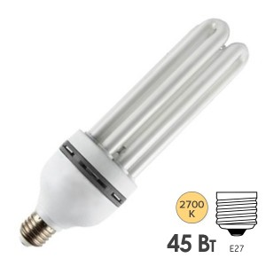 Лампа энергосберегающая ESL 4U12 45W 2700K E27 2200lm d58x185mm теплая