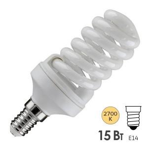 Лампа энергосберегающая ESL QL7 15W 2700K Е14 спираль d46x98 теплая