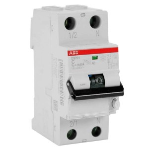 Дифавтомат ABB DS201 C16 A10 2-полюсный характеристика C 16A 10mA тип А (2CSR255140R0164)
