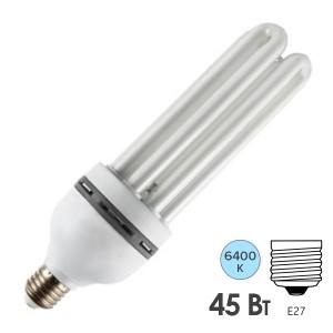 Лампа энергосберегающая ESL 4U12 45W 6400K E27 2200lm d58x185mm холодная