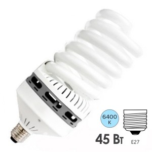 Лампа энергосберегающая ESL QL14 45W 6400K E27 спираль d83x195 холодная