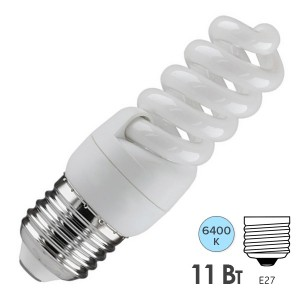 Лампа энергосберегающая ESL QL7 11W 6400K E27 спираль d32x97 холодная