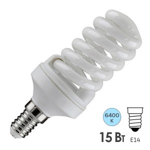 Лампа энергосберегающая ESL QL7 15W 6400K E14 спираль d46x98 холодная