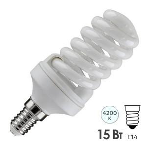 Лампа энергосберегающая ESL QL7 15W 4200K E14 спираль d46x98 белая