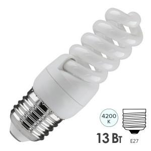 Лампа энергосберегающая ESL QL7 13W 4200K E27 спираль d40x83 белая