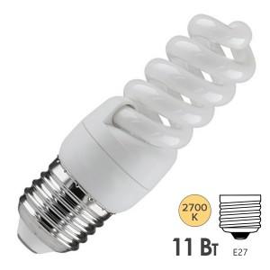 Лампа энергосберегающая ESL QL7 11W 2700K E27 спираль d32x97 теплая