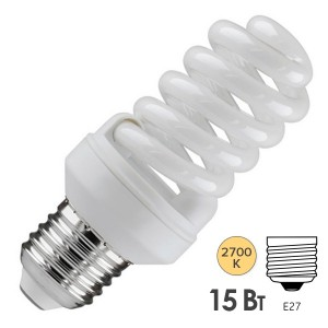 Лампа энергосберегающая ESL QL7 15W 2700K E27 спираль d46x98 теплая