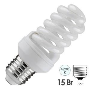 Лампа энергосберегающая ESL QL7 15W 4200K E27 спираль d46x98 белая
