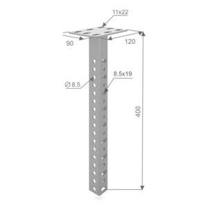 Стойка потолочная сварная усиленная 400 мм OSTEC