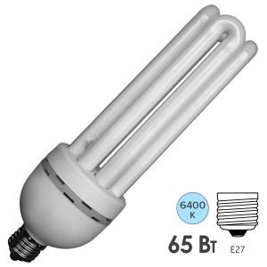 Лампа энергосберегающая ESL 4U14 65W 6400K E27 3300lm d72x235mm холодная