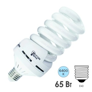 Лампа энергосберегающая ESL QL14 65W 6400K E40 спираль d83x255 холодная