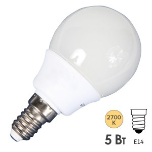 Лампа энергосберегающая Osram DULUXSTAR Mini Globe 5W/827 E14 d57x105