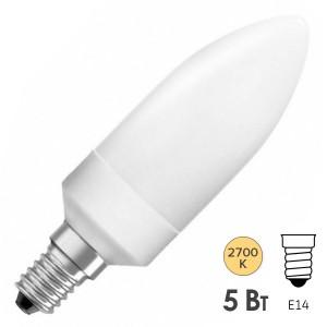Лампа энергосберегающая Osram Classic B 5W/827 E14