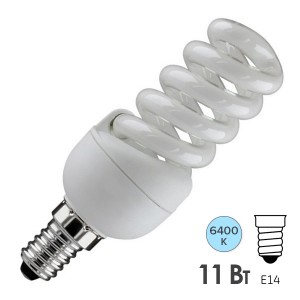 Лампа энергосберегающая ESL QL7 11W 6400K E14 спираль d32x97 холодная