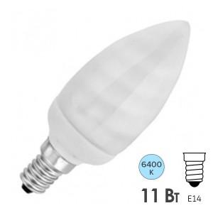 Лампа энергосберегающая свеча ESL B QL7 11W 6400K E14 холодная, d38x101