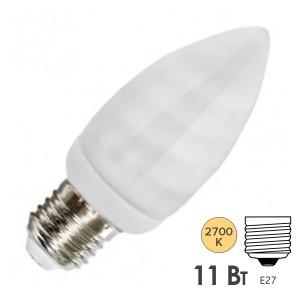 Лампа энергосберегающая свеча ESL B QL7 11W 2700K E27 теплая, d38x101