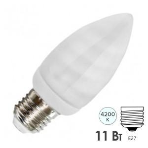 Лампа энергосберегающая свеча ESL B QL7 11W 4200K E27 белая, d38x101