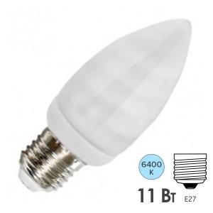 Лампа энергосберегающая свеча ESL B QL7 11W 6400K E27 холодная, d38x101