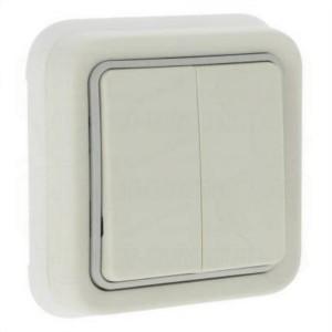 Двухклавишный переключатель IP55 скрытый монтаж Legrand Plexo, белый