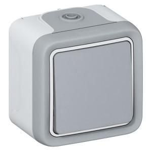 Кнопочный выключатель IP55 накладной монтаж Legrand Plexo серый