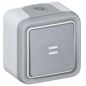 Кнопочный выключатель с подсветкой IP55 накладной монтаж Legrand Plexo серый