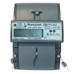 Электросчетчик Меркурий 206 PLNO 5-60А/220В кл.т.2,0 многотарифный ЖКИ PLC-I