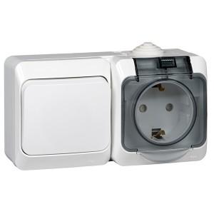 Блок выключатель одноклавишный + розетка с/з Этюд IP44 Schneider Electric белый