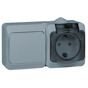 Блок выключатель одноклавишный + розетка с/з Этюд IP44 Schneider Electric серый