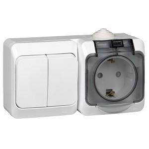 Блок выключатель двухклавишный + розетка с/з Этюд IP44 Schneider Electric белый