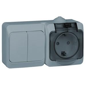 Блок выключатель двухклавишный + розетка с/з Этюд IP44 Schneider Electric серый