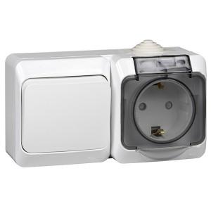 Блок переключатель одноклавишный + розетка с/з Этюд IP44 Schneider Electric белый