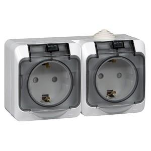 Блок из двух розеток с/з Этюд IP44 Schneider Electric белый