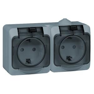 Блок из двух розеток с/з Этюд IP44 Schneider Electric серый