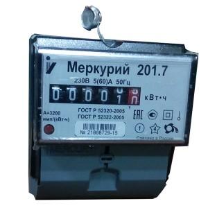 Электросчетчик Меркурий 201.7  5-60А/220В кл.т.1,0 однотарифный мех.
