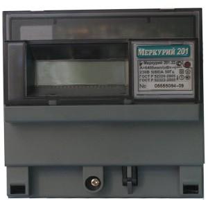 Электросчетчик Меркурий 201.22  5-60А/220В кл.т.1,0 однотарифный ЖКИ с PLC модемом
